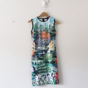 Just Love Fitted Italian City Scape Dress L685
